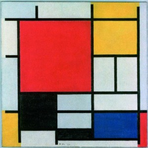 Piet Mondrian, Composition with Large Red Plane, Yellow, Black, Gray and Blue, 1921.